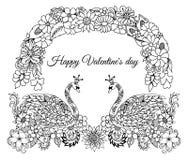 导航例证,贺卡,华伦泰,对在爱的天鹅在花卉曲拱下 手动地做的工作  上色嘘 免版税库存照片