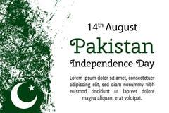 导航例证巴基斯坦国庆节,在时髦难看的东西样式的巴基斯坦旗子 8月14日海报的设计模板 免版税库存图片