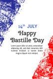 导航例证巴士底日,在时髦难看的东西样式的法国旗子 7月14日海报的,横幅, flayer设计模板 图库摄影