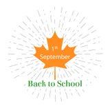 导航例证9月1日天,回到学校字法 设计海报的,横幅, flayer,问候,邀请c模板 免版税库存图片