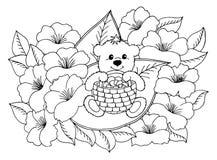 导航例证zentangl与坐在花中的蘑菇篮子的一个玩具熊  乱画图画 反的彩图 免版税库存图片
