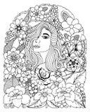 导航例证zentangl,一个女孩的画象在花中的 成人的彩图反重音 黑色白色 库存图片