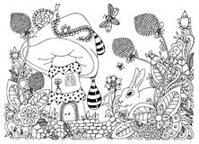 导航例证zentangl,蘑菇的房子,在花的兔子 乱画图画 彩图反重音 库存照片