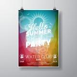 导航党飞行物在夏天海滩题材的海报模板有抽象发光的背景 免版税库存照片