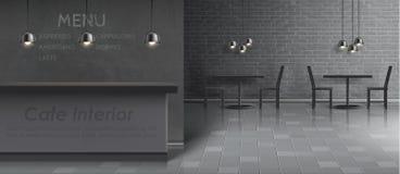 导航内部咖啡馆的大模型,空的餐馆 向量例证
