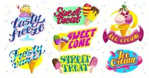 导航冰淇凌卡车的平的收藏,存放,商店和van logo设计与字法,手书面字体和的冰淇凌 库存图片