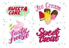 导航冰淇凌卡车的平的收藏,存放,商店和van logo设计与字法,手书面字体和的冰淇凌 免版税图库摄影