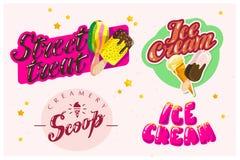 导航冰淇凌卡车的平的收藏,存放,商店和van logo设计与字法, 免版税库存图片