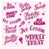 导航冰淇凌卡车的平的收藏,存放,商店和van logo设计 图库摄影
