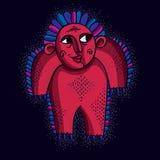 导航凉快的动画片滑稽的妖怪,简单的红色奇怪的生物 分类 免版税库存照片