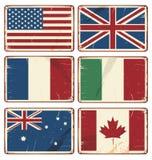 导航减速火箭的罐子标志的例证与状态旗子的 免版税库存图片