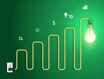 导航创造性的电灯泡摘要图和gra 库存图片