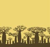 导航剪影手图画猴面包树装饰无缝的边界  库存图片