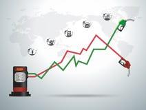 导航加油泵喷管与企业图表的加油站 免版税库存图片
