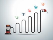导航加油泵喷管与企业图表的加油站 库存图片