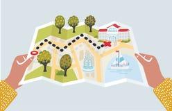 导航动画片例证滑稽与地标的纸地图 免版税库存图片