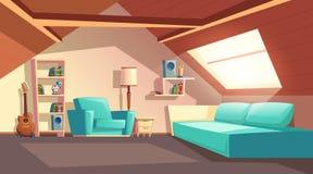 导航动画片空的阁楼室,顶楼内部 向量例证