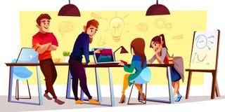导航动画片自由职业者,设计师在coworking的中心 向量例证