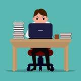 导航动画片努力办公室工作者在桌上 库存例证