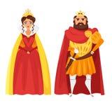 导航动画片国王和女王/王后的样式例证 免版税库存照片