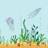 导航动画片海底sealess装饰边界与海草的 库存照片