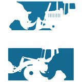 导航包括两个图象的例证显示犀牛的剪影 免版税库存图片