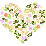 导航华伦泰在白色背景的心脏和分支的例证与花的 库存图片