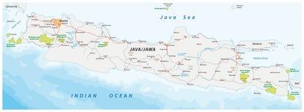 导航印度尼西亚海岛Java的路和国家公园地图 免版税图库摄影