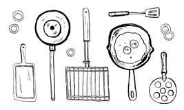 导航厨房设备的手拉的黑色墨水和白色剪影例证格栅的 皇族释放例证