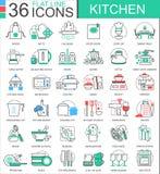 导航厨房颜色平的线apps和网络设计的概述象 互联网教育象 免版税库存图片