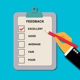 导航反馈在平的样式的评价表的例证网的 免版税库存图片