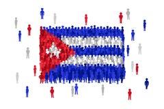 导航古巴动画片人人群形成的状态旗子  库存例证
