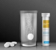 导航可溶解圆的片剂的例证在一杯的水和一个容器他们的 库存例证