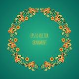 导航名为在绿色背景的khokhloma的传统民间俄国花卉老装饰品的花圈例证 免版税库存图片