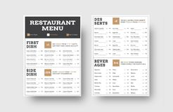 导航咖啡馆或餐馆的菜单模板有分裂的入 皇族释放例证