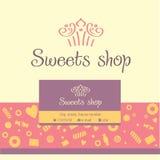 导航商标,糖果店的名片 免版税库存照片