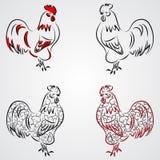 导航图腾部族动物的例证-雄鸡-在图表样式 图库摄影