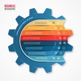 导航图表、图、图和其他infographics的企业和产业齿轮样式infographic模板 图库摄影
