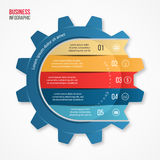 导航图表、图、图和其他infographics的企业和产业齿轮样式infographic模板 免版税库存照片