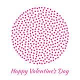 导航圈子球形情人节卡片背景的桃红色心脏 免版税库存图片