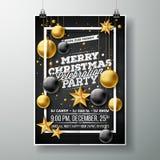 导航圣诞快乐党与印刷术和假日元素的飞行物例证在黑背景 邀请 库存照片