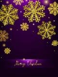 导航圣诞节书法设计雪花,与金子纹理 库存例证