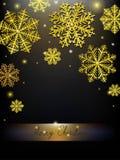 导航圣诞节书法设计雪花,与金子纹理 向量例证