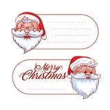 导航圣诞节和假日吊标记标签或贴纸与圣诞老人并且为您的文本安置 库存图片