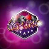 导航在一个赌博娱乐场题材的例证与啤牌标志和在抽象背景的发光的文本 免版税库存照片