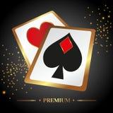 导航在一个赌博娱乐场题材的例证与啤牌 图库摄影