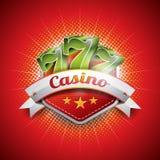 导航在一个赌博娱乐场题材的例证与sevens 免版税库存图片