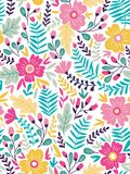 导航在乱画样式的花卉无缝的样式与花和叶子 背景看板卡花卉问候页夏天模板普遍性万维网 库存例证