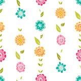 导航在乱画样式的花卉样式与花和叶子 免版税库存照片