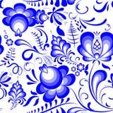 导航在俄国样式gzhel的蓝色花卉无缝的样式 免版税库存图片